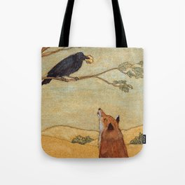 Fox and Crow from Aesop's Fables - Beware of flatterers. Tote Bag