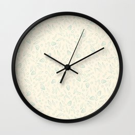 Underwater world small turquoise on beige pattern Wall Clock