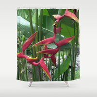 """indonesia Shower Curtains featuring Flower """"Heliconia"""" (Bali, Indonesia) by Christian Haberäcker - acryl abstract"""