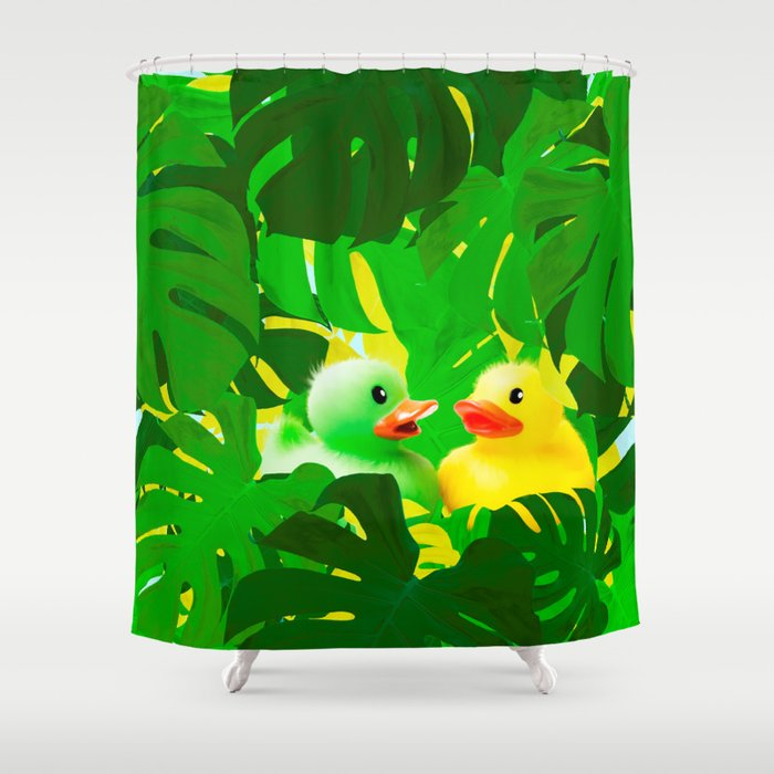 Small Rubber Ducks with Large Monstera Leaves #decor #society6 #buyart Shower Curtain