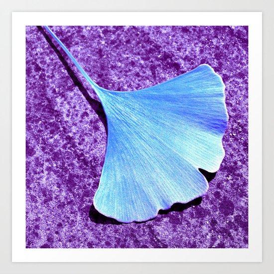 blue ginkgo leaf IX Art Print