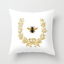 French Bee acorn wreath Throw Pillow