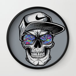 Skelete face sunglasses Wall Clock