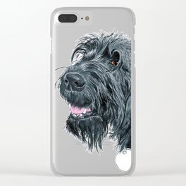 Smiling Black Labradoodle Clear iPhone Case