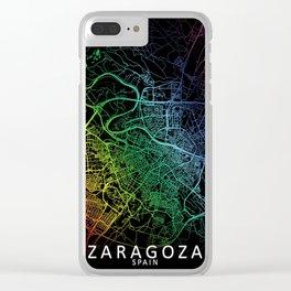 Zaragoza, Spain, City, Map, Rainbow, Map, Art, Print Clear iPhone Case