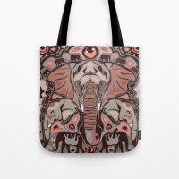 elephants Tote Bags featuring Elephants by Darish