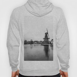 Iconic mill 'The Adrian' in black and white in Haarlem alongside a frozen Spaarne canal | Ice skating | Reflections | Architectural fine art print Hoody