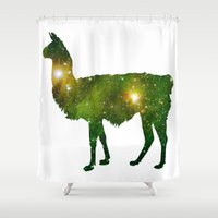 llama Shower Curtains featuring Llama by Lucas de Souza