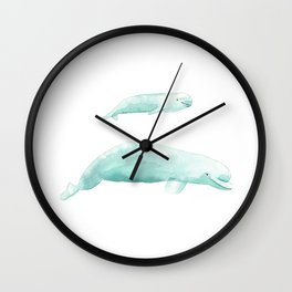 Beluga whale with baby Wall Clock