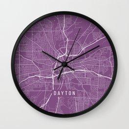 Dayton Map, USA - Purple Wall Clock