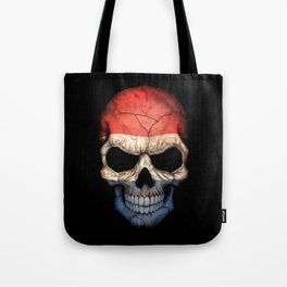 Dark Skull with Flag of The Netherlands Tote Bag