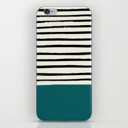 Dark Turquoise & Stripes iPhone Skin