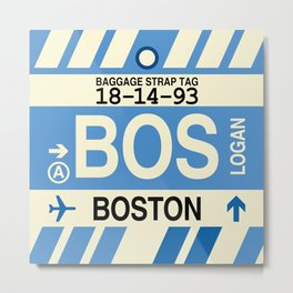 BOS Boston • Airport Code and Vintage Baggage Tag Design Metal Print