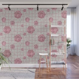 Pink Roses on Dots Basket Weave Pattern Wall Mural