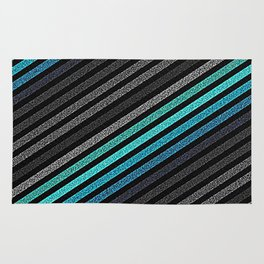 stripeS : Slate Gray Teal Blue Pixels Rug