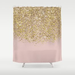 Pink and Gold Glitter Shower Curtain