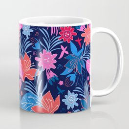Visible By Night - Tropical Flowers In Seamless Pattern Coffee Mug