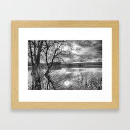 A view across the lake. Framed Art Print