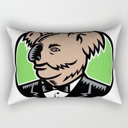 Koala Wearing Tuxedo Woodcut Color Rectangular Pillow