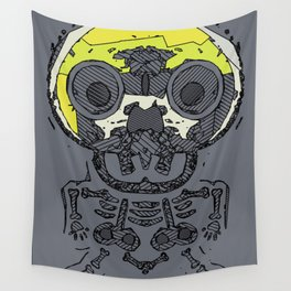 yellow skull and bone graffiti drawing with grey background Wall Tapestry