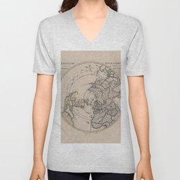 Northern Hemisphere Vintage Map Unisex V-Neck