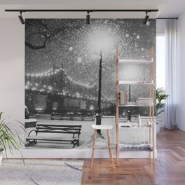 New York City Night Snow Wall Mural