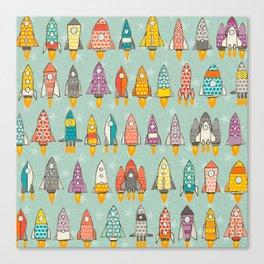 retro rockets mint Canvas Print