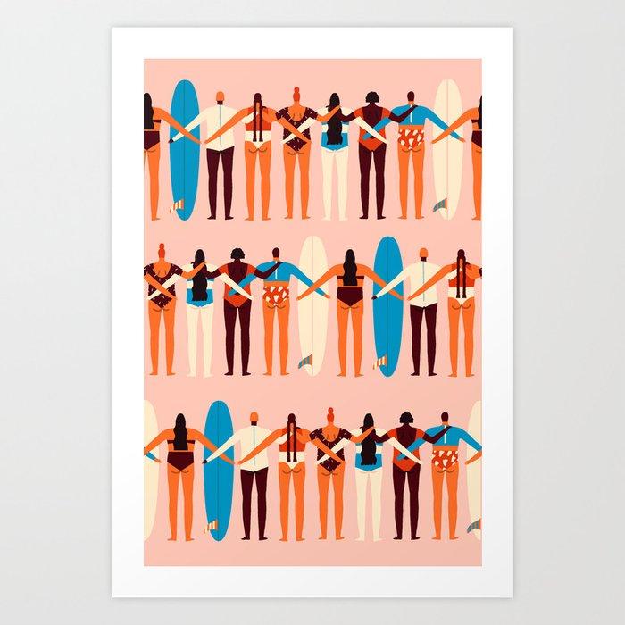 Surf sisters Art Print