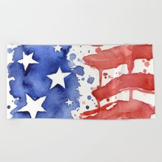 American Flag Watercolor Abstract Stars and Stripes Beach Towel