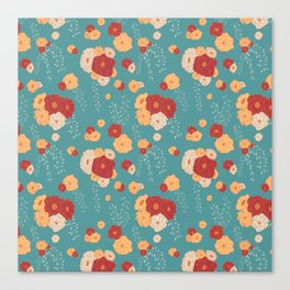 Anemone Floral Bouquets on Blue Canvas Print