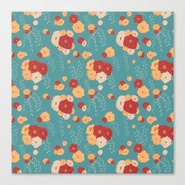 Anemone Floral Bouquets on Blue Canvas Print