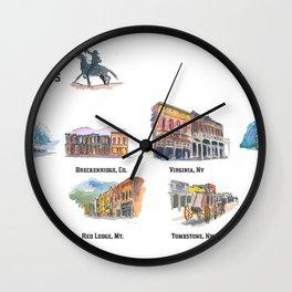 USA Wild West Towns Main Streets - Telluride, Breckenridge, Aspen & Co. Wall Clock