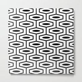 Geometric Ogee Pattern 121 Black and White Metal Print