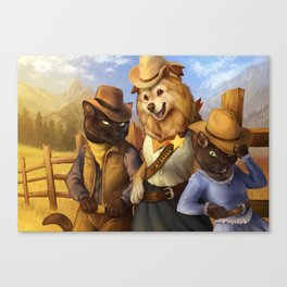 Cowboy Cats and Deputy Dog ~! Canvas Print