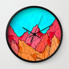 The Red and Orange Mounts Wall Clock
