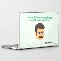 ron swanson Laptop & iPad Skins featuring Swanson by tukylampkin