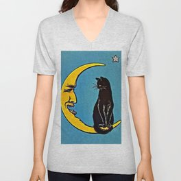 Black Cat & Moon Unisex V-Neck
