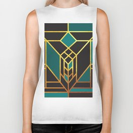 Art Deco Leaving A Puzzle In Turquoise Biker Tank