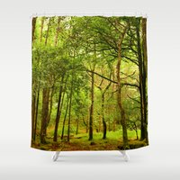 spiritual Shower Curtains featuring Spiritual Forest  by Gypsy Angel Studio