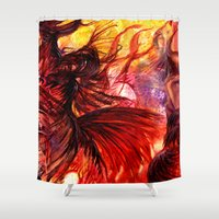 phoenix Shower Curtains featuring Phoenix by Vargamari