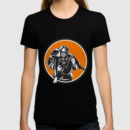Fireman Firefighter Saving Girl Circle Woodcut T-shirt