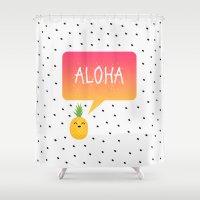 aloha Shower Curtains featuring Aloha by Elisabeth Fredriksson