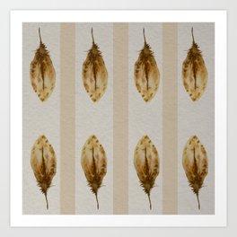 watercolor ethnic birds feathers pattern Art Print