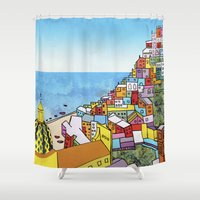 paper towns Shower Curtains featuring Towns of Italy II by Louise Griffiths