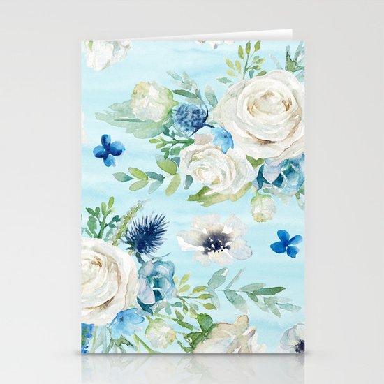 White roses blue flowers pattern by artonwear