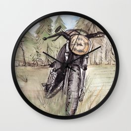 Cafe Racer Illustration Wall Clock