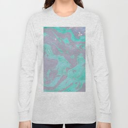 Mauve and Teal Marble Pattern Long Sleeve T-shirt
