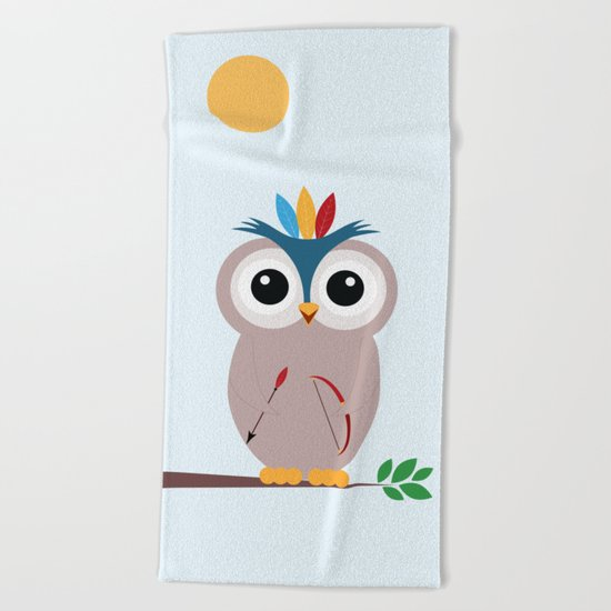 Be brave with owl Beach Towel