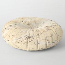 Vintage Map of Lake Winnipesaukee (1896) Floor Pillow