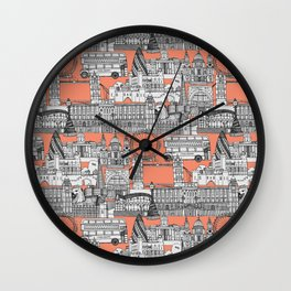 London toile peach Wall Clock